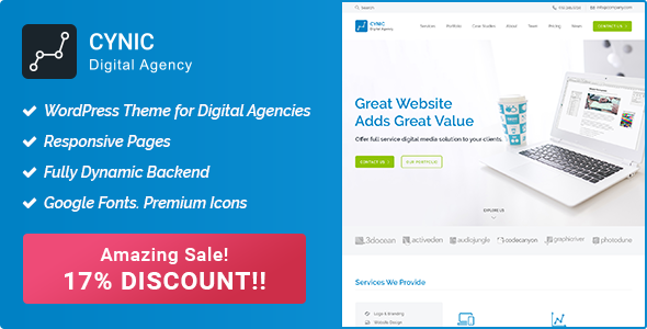 Digital Agency WordPress Theme - Cynic - Technology WordPress