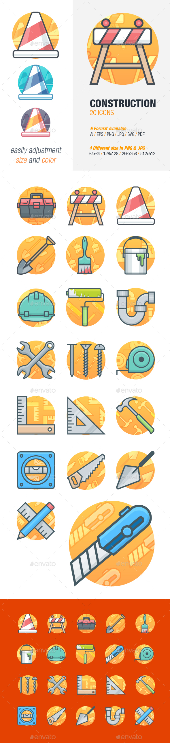 Construction and Tools Icons - Objects Icons