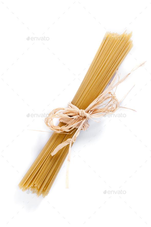 Pasta spaghetti on white background. - Stock Photo - Images