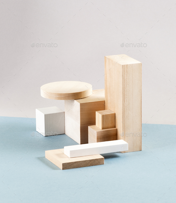 Installation of wooden volumetric geometric figures on a light g - Stock Photo - Images