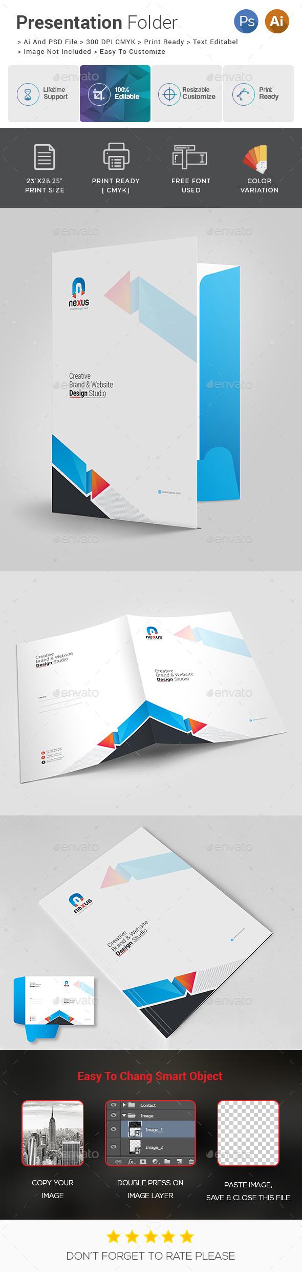 Nexus Presentation Folder - Stationery Print Templates