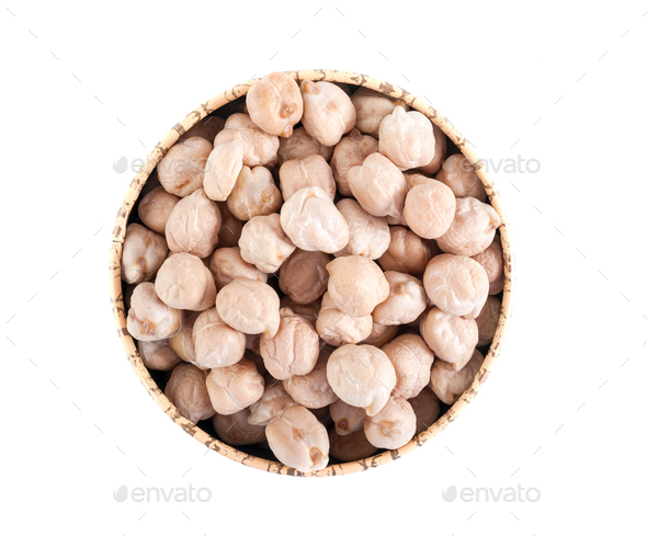 Raw peas chickpeas in a round bowl on a white background. - Stock Photo - Images