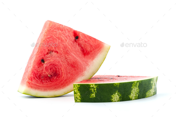 Ripe watermelon on a white background. Isolated. - Stock Photo - Images