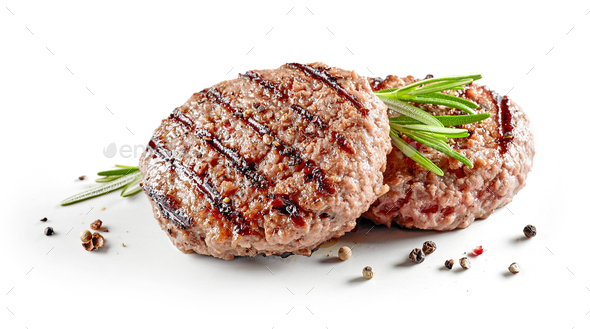 freshly grilled burger meat - Stock Photo - Images