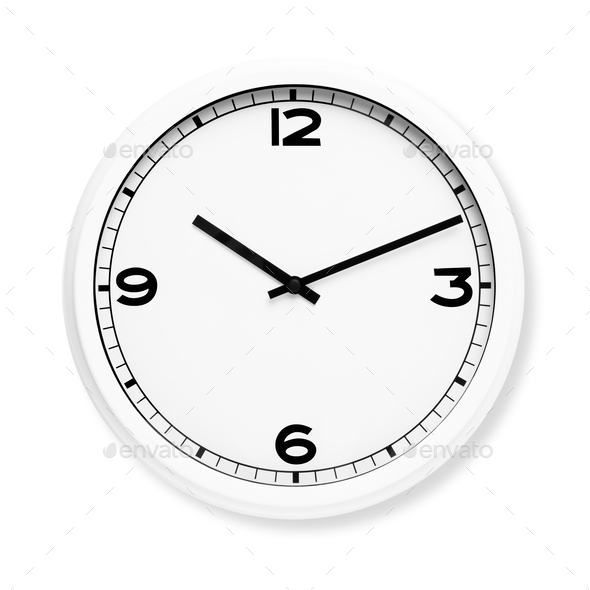 Vintage white clock in a round shape - Stock Photo - Images