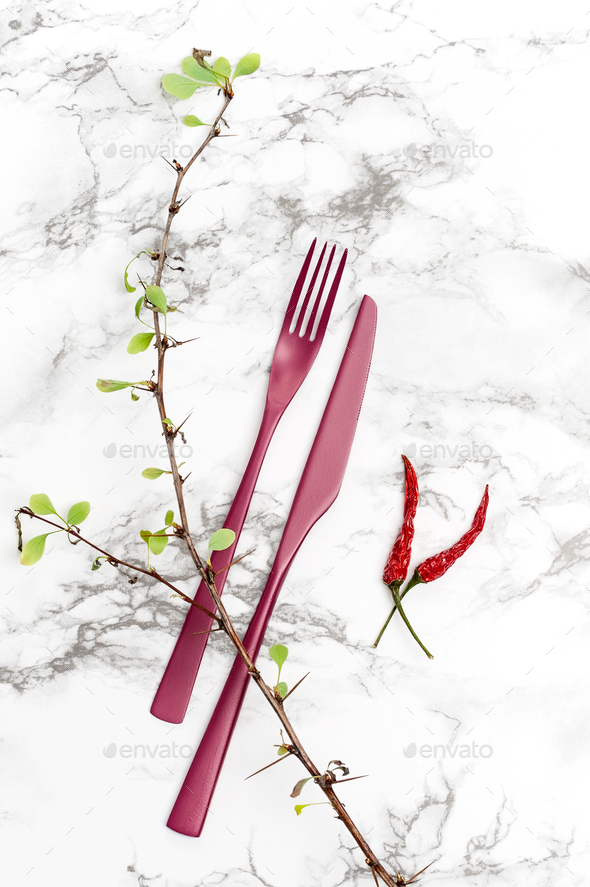 Fork, knife and dry plants on a marble table. - Stock Photo - Images