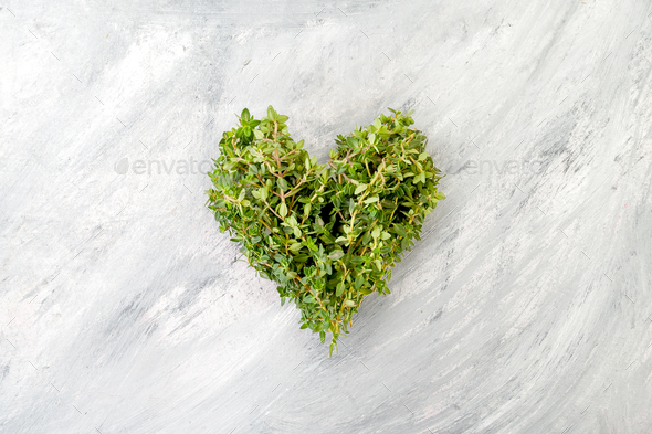 Heart of fresh thyme on a light old scratching table. - Stock Photo - Images