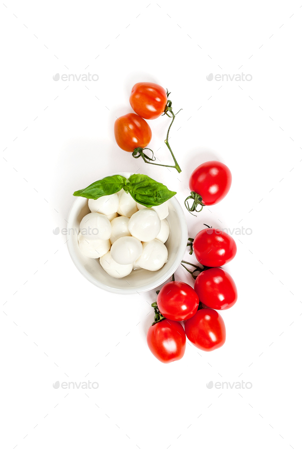 Fresh Cherry Tomatoes (mini) and Mozzarella cheese on a clean wh - Stock Photo - Images