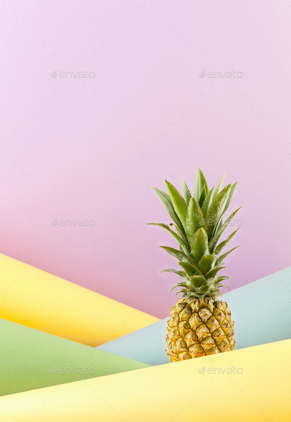 Pineapple on a combined colored background. - Stock Photo - Images