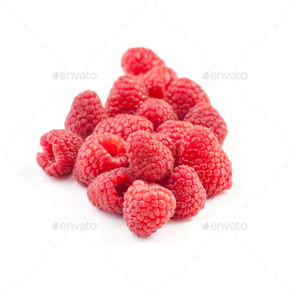 A handful of ripe raspberries on a clean white background. - Stock Photo - Images