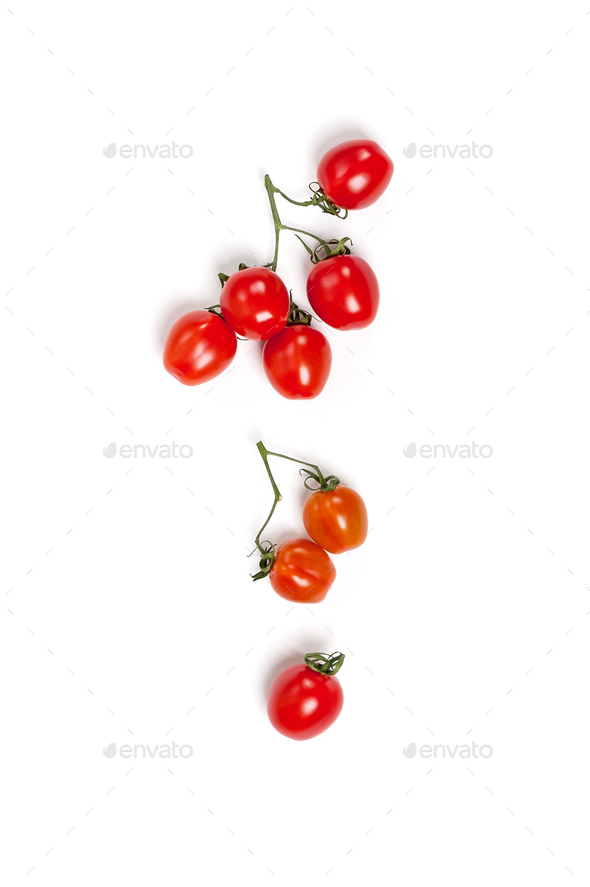 Cherry tomatoes (mini) on a branch on a clean white background. - Stock Photo - Images