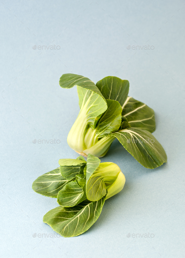 Two bundles of Cabbage Pak-choi (salad) on a light blue backgrou - Stock Photo - Images