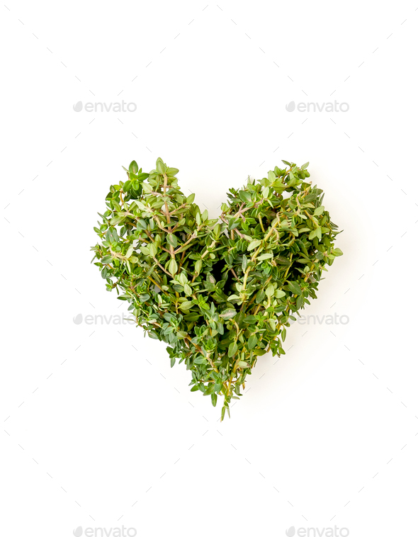 Heart of fresh thyme branches on a clean white background. - Stock Photo - Images