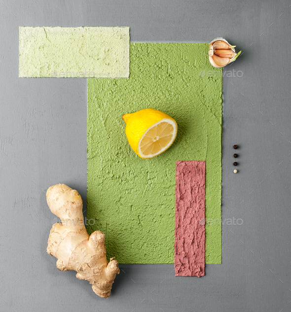 Photo poster in a minimalist style with various fruits and veget - Stock Photo - Images