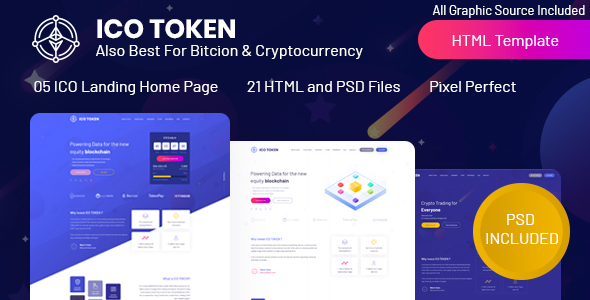 ICO TOKEN - Bitcoin & Cryptocurrency Landing Page HTML Template - Technology Site Templates