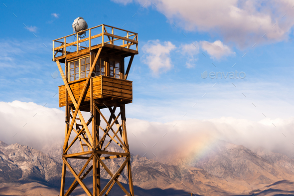 Old Guard Tower Manzanar Internment Camp California - Stock Photo - Images