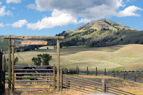 High Country Ranch and Corrals Western Rocky Mountains - Stock Photo - Images