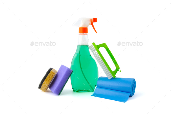 Means for washing windows and cleaning the house. - Stock Photo - Images