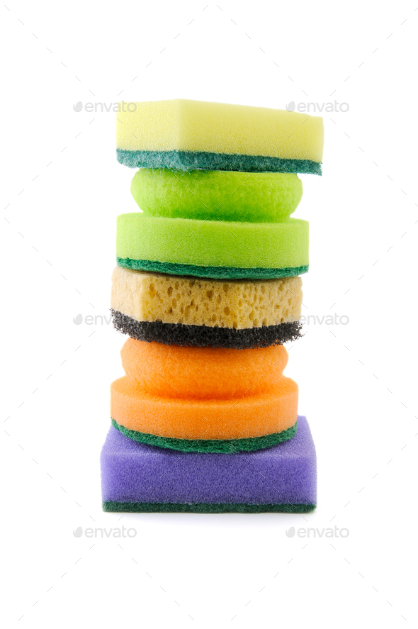 Stack of various sponges for washing dishes. - Stock Photo - Images