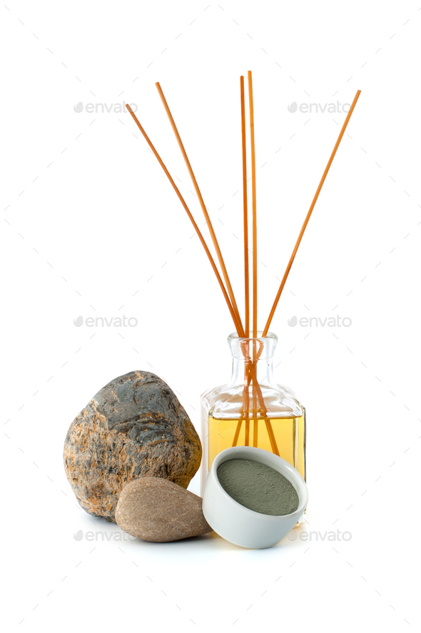 Aromatherapy and blue cosmetic clay on a white background. - Stock Photo - Images