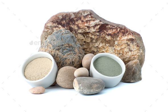 White and blue cosmetic clay on the background of natural stones - Stock Photo - Images