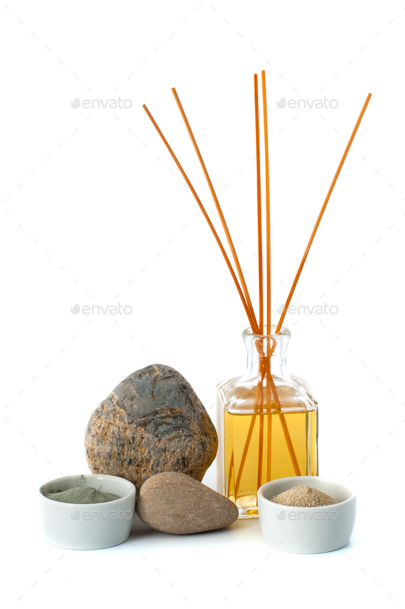 Aromatherapy and cosmetic clay on a white background. - Stock Photo - Images