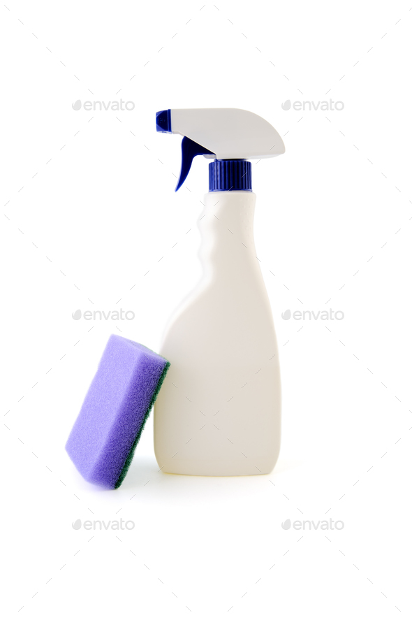 The bottle with liquid and a sponge for cleaning. - Stock Photo - Images