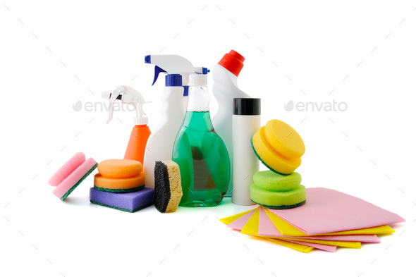 Various adjuvants for cleaning the apartment. - Stock Photo - Images