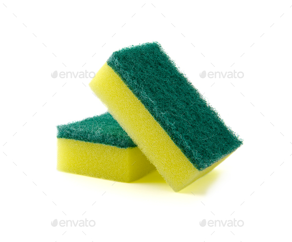 Two rectangular foam sponge for washing dishes or cleaning the h - Stock Photo - Images