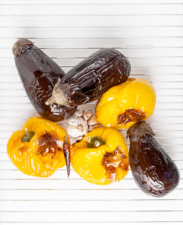 Grilled aubergines and yellow sweet peppers. - Stock Photo - Images