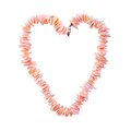 Coral beads in the shape of a heart on a pure white background. - PhotoDune Item for Sale