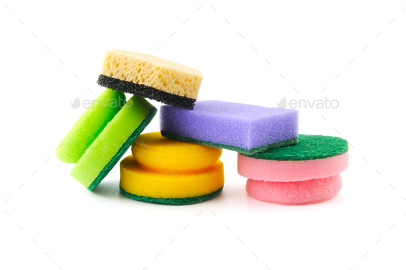 Various sponges for cleaning and dishwashing. - Stock Photo - Images