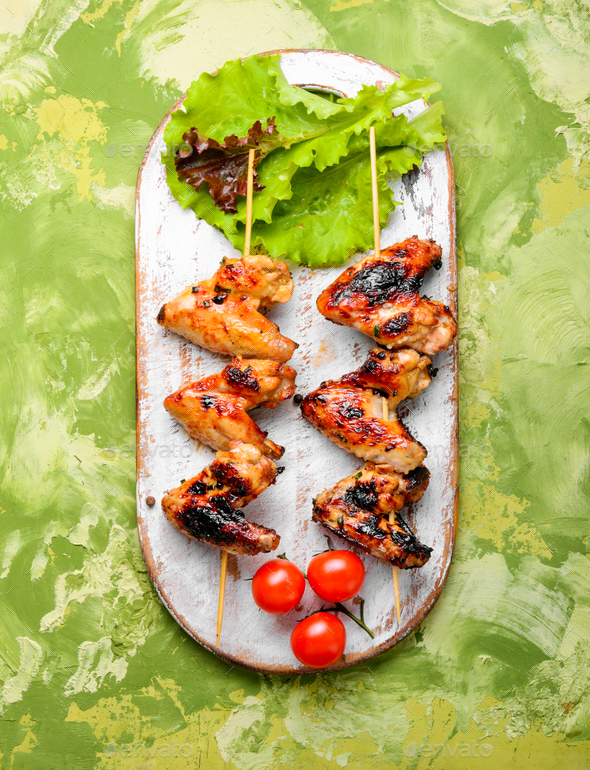 Chicken wings with crispy crust - Stock Photo - Images