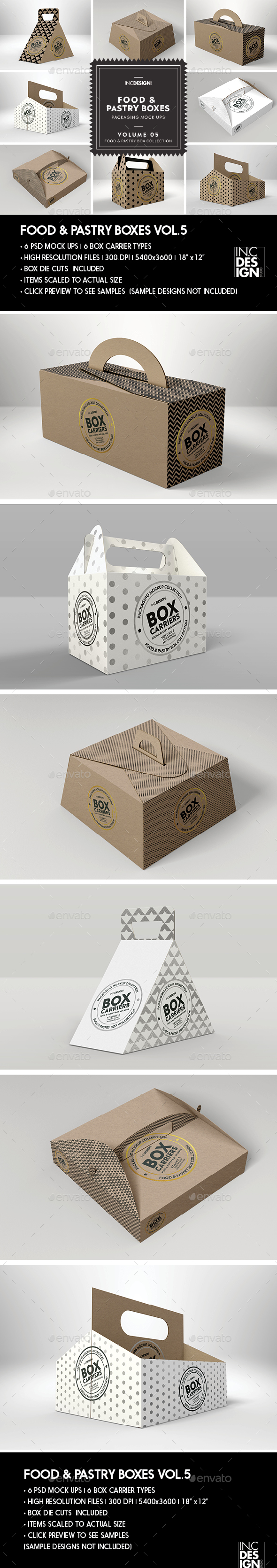 Food Pastry Boxes Vol.5: Kraft Carrier Boxes | Take Out Packaging Mock Ups - Food and Drink Packaging