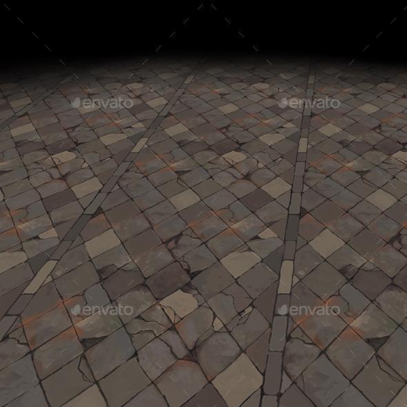 Medieval floor Tile 4 (hand painted) - 3DOcean Item for Sale