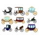 Flat Vector Set of Old Horse-Drawn Carriages