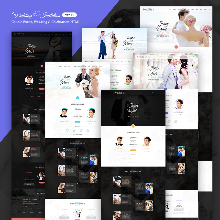 Wedding Invitation - Couple Event, Wedding & Celebration HTML Template Design By Webstrot