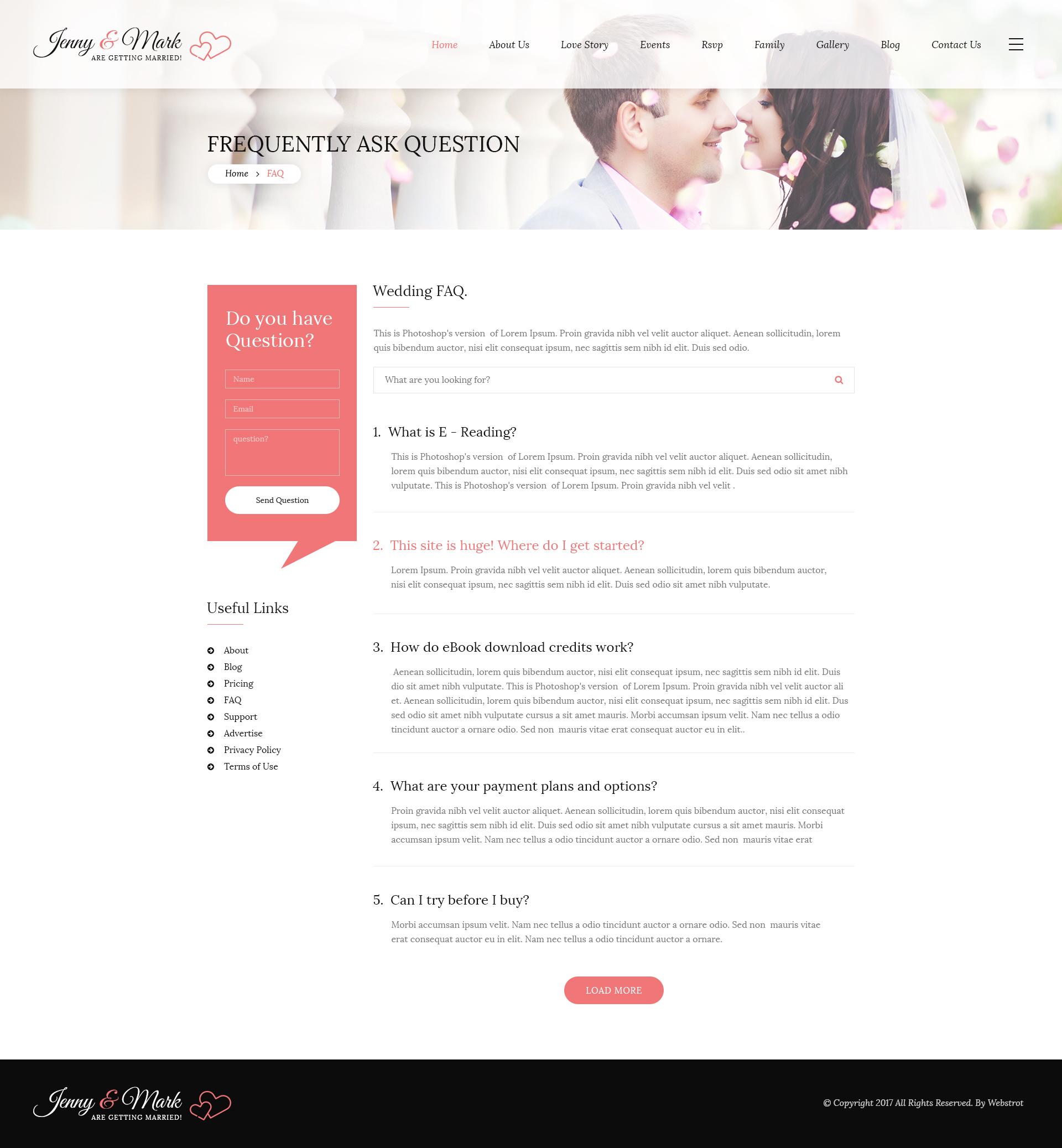 Wedding Invitation - Couple Event and Celebration HTML Template