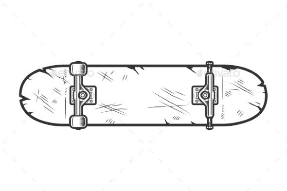 Vintage Skate Board Bottom View Template - Miscellaneous Vectors