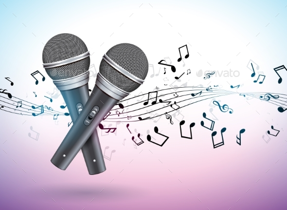 Vector Banner Illustration on a Musical Theme - Backgrounds Decorative