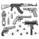 Set of Bullet Holes and Guns