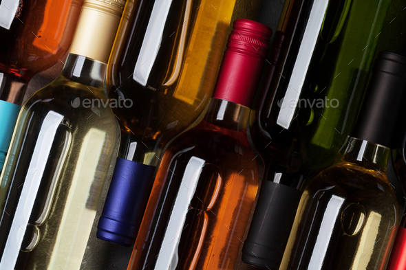 Red, rose and white wine bottles - Stock Photo - Images