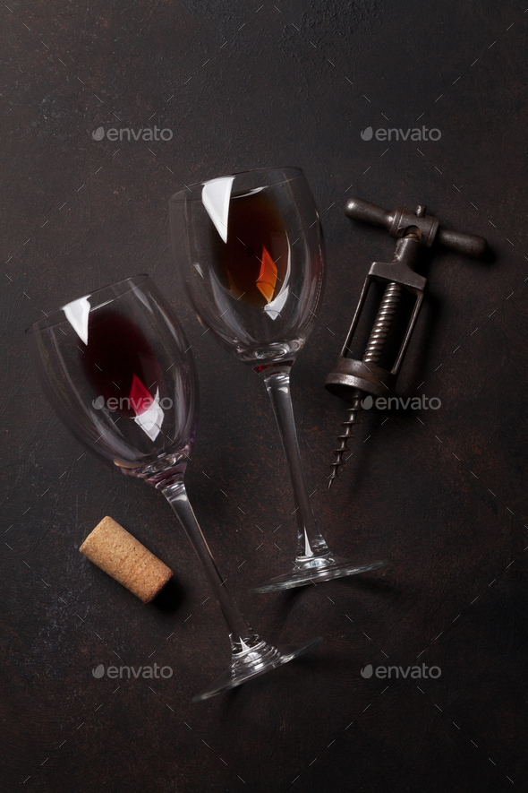 Wine glasses and corkscrew - Stock Photo - Images
