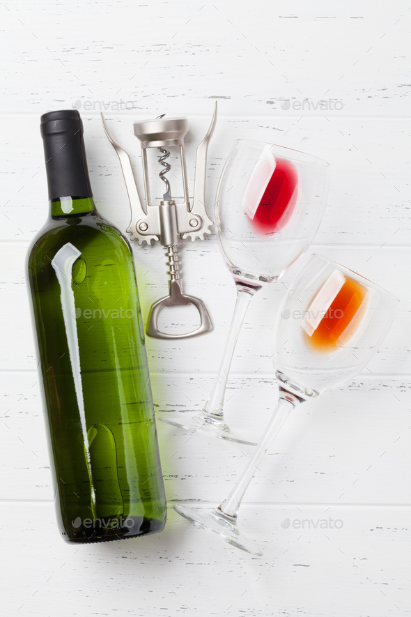 Wine bottle and glasses - Stock Photo - Images