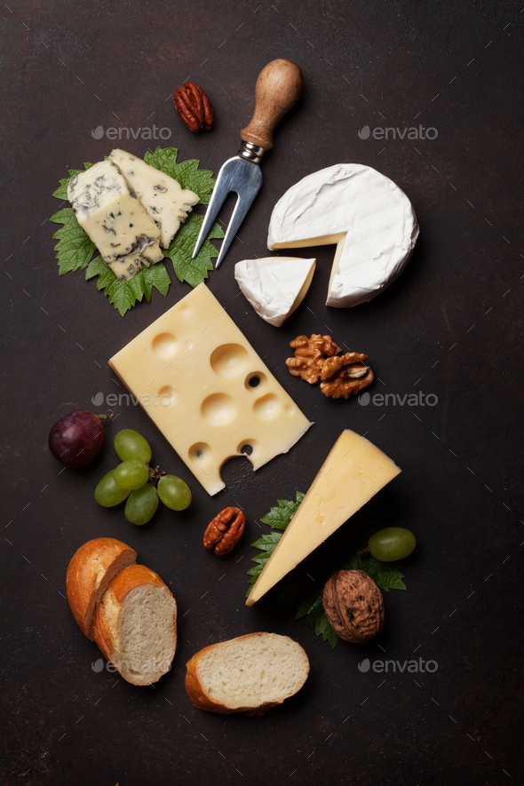 Cheese, grapes and nuts - Stock Photo - Images