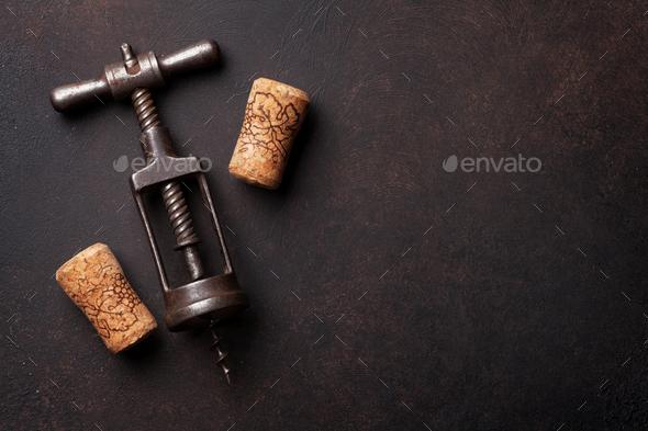 Vintage wine corkscrew - Stock Photo - Images
