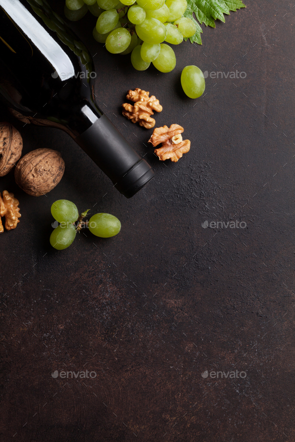 Wine, grape and nuts - Stock Photo - Images