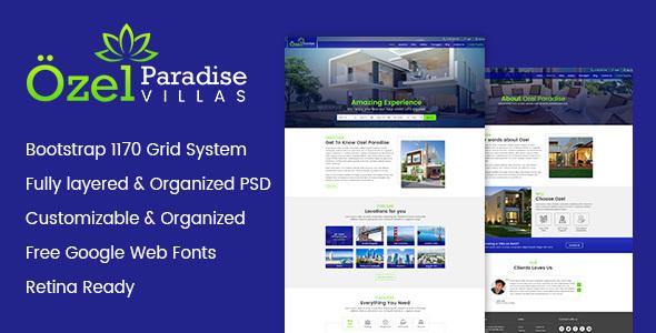Ozel Paradise Villas PSD Template - PSD Templates