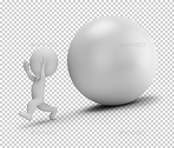 3D Small People - Runs Away From the Rolling Ball - Characters 3D Renders
