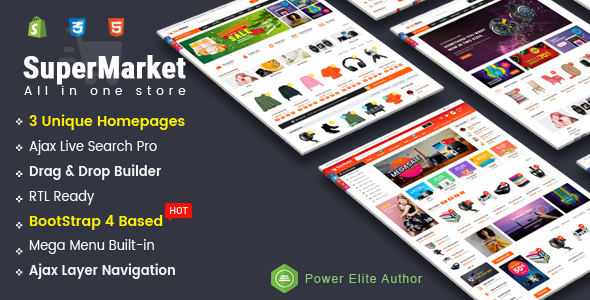 Image of SuperMarket - Responsive Drag & Drop Sectioned Bootstrap 4 Shopify Theme